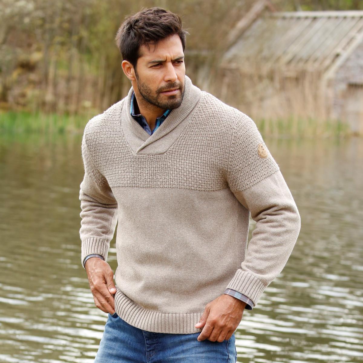 Pullover Strick Männer Mode Große Größen Plus Size Fashion Schalkragen
