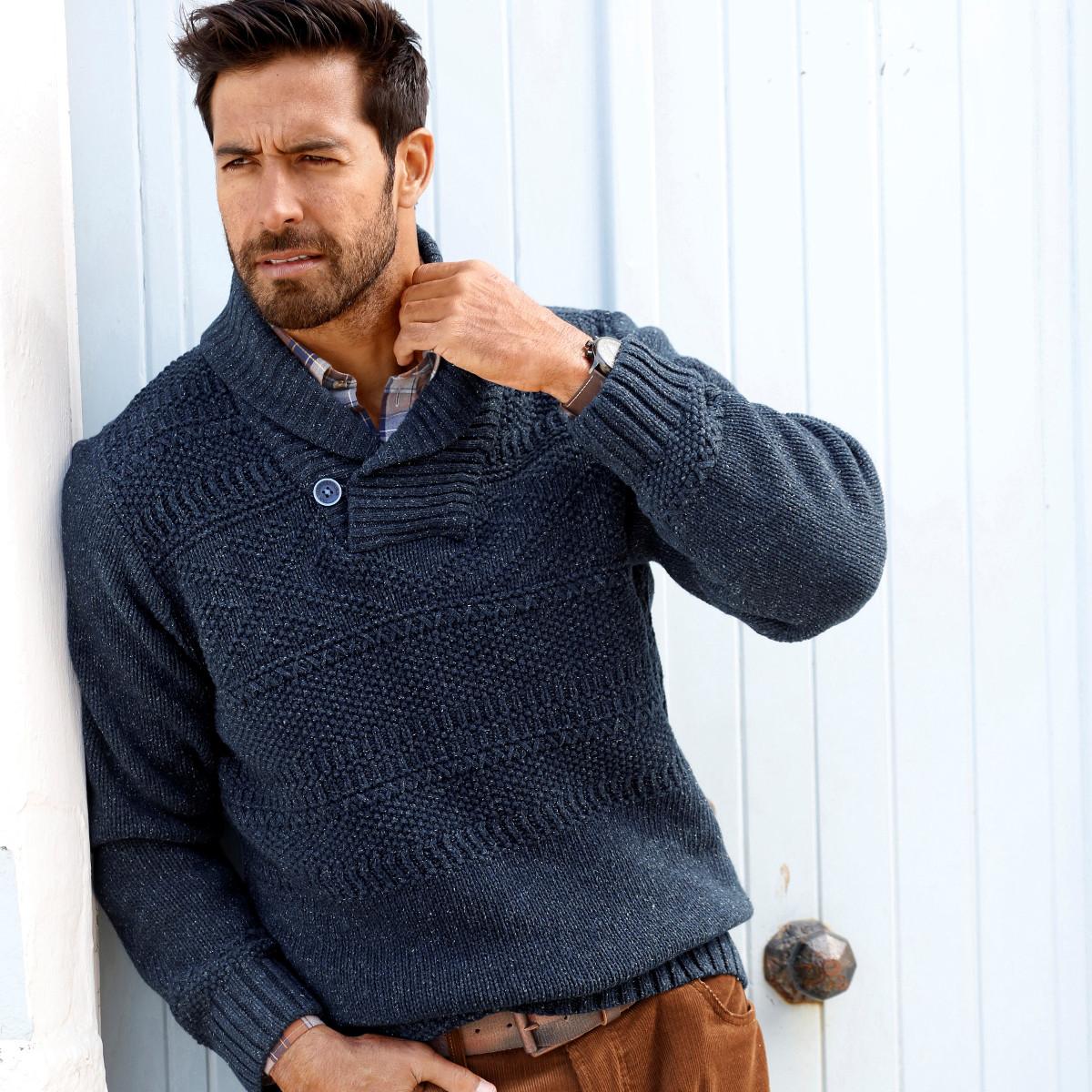 Pullover Strick Männer Mode Große Größen Plus Size Fashion Schalkragen mit Knopf