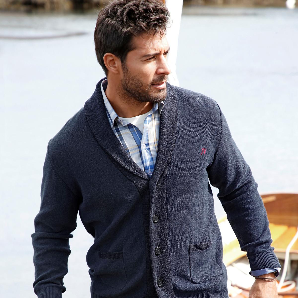 Strickjacke Strick Männer Mode Große Größen Plus Size Fashion Schalkragen