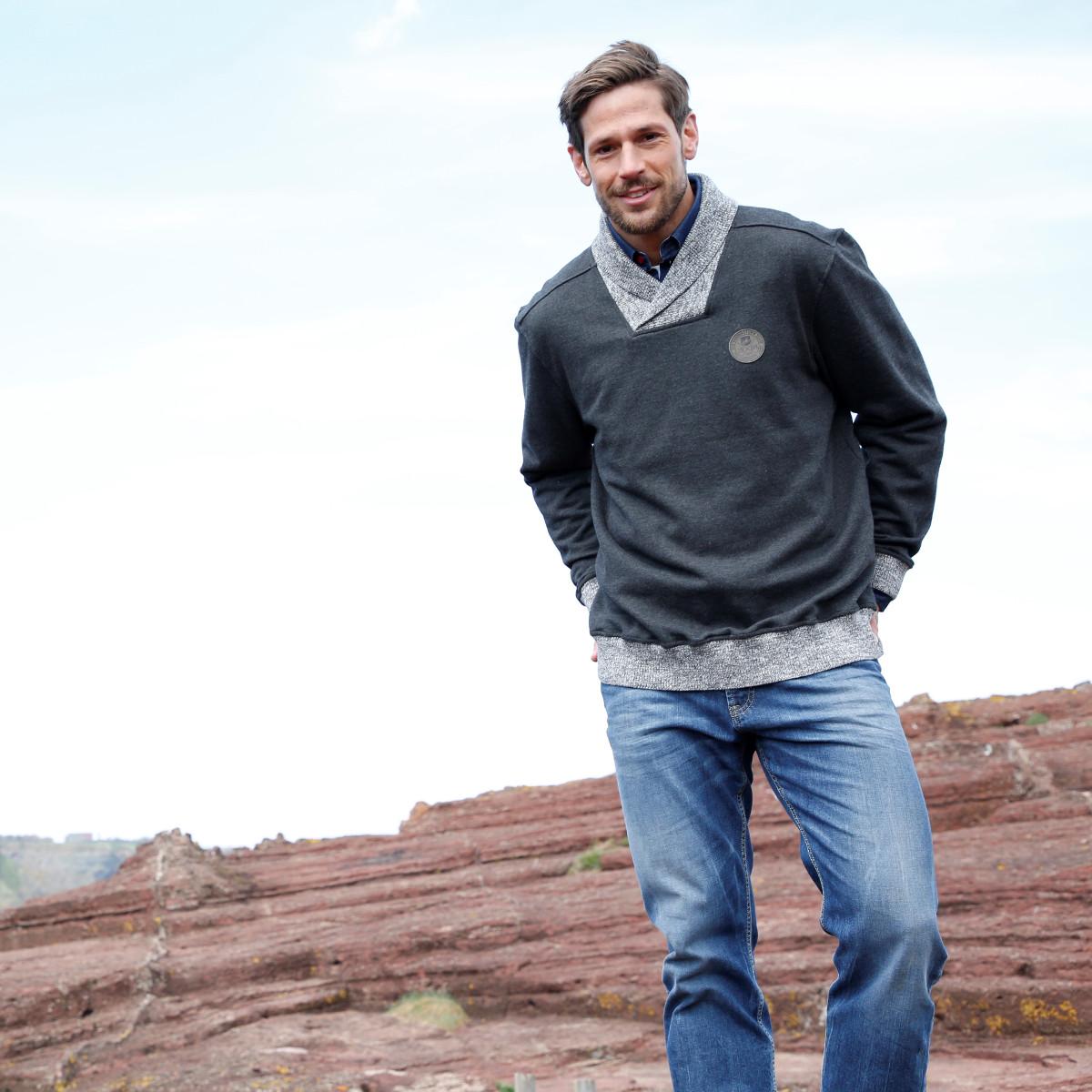 Sweatshirt Strick Männer Mode Große Größen Plus Size Fashion Schalkragen