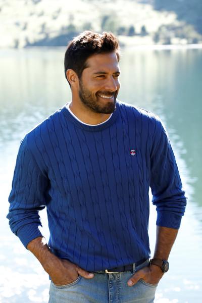 Pullover gestrickt Zopfmuster Männer Mode Große Größen XXL